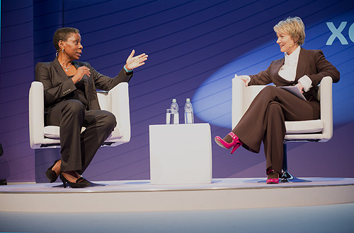 Katie interviewing Ursula Burns